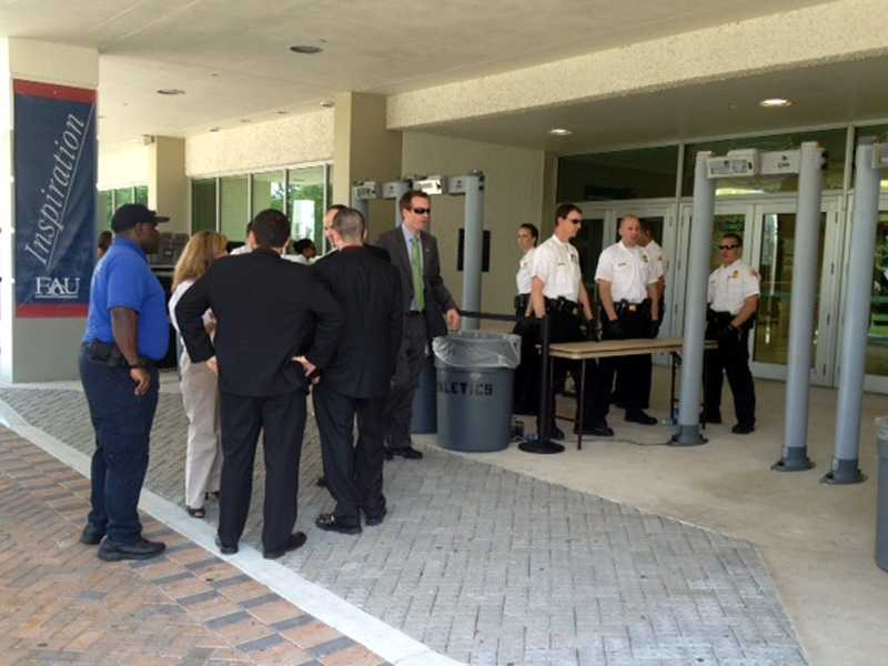 Security tightens up at FAU on Tuesday. (Angela Rozier/WPBF)