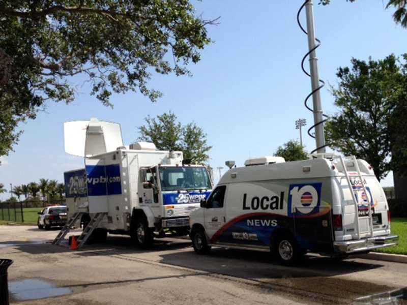 TV trucks were busy all over town Tuesday. (Cathleen O'Toole/WPBF)