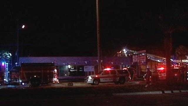 Firefighters spent several hours battling a blaze at the Overstock Clothing Outlet on Military Trail.