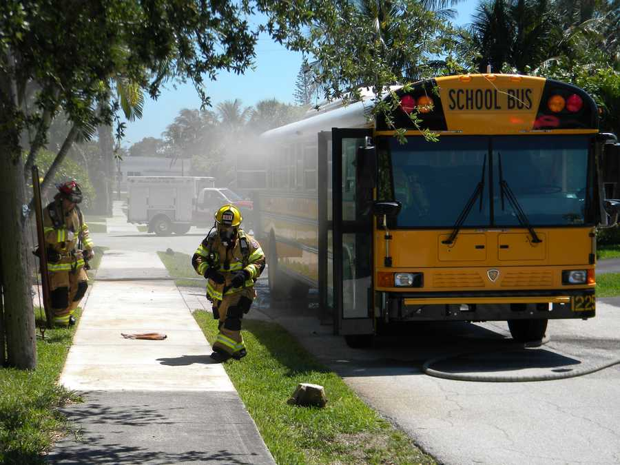 No children were injured when this school bus caught fire in Delray Beach.