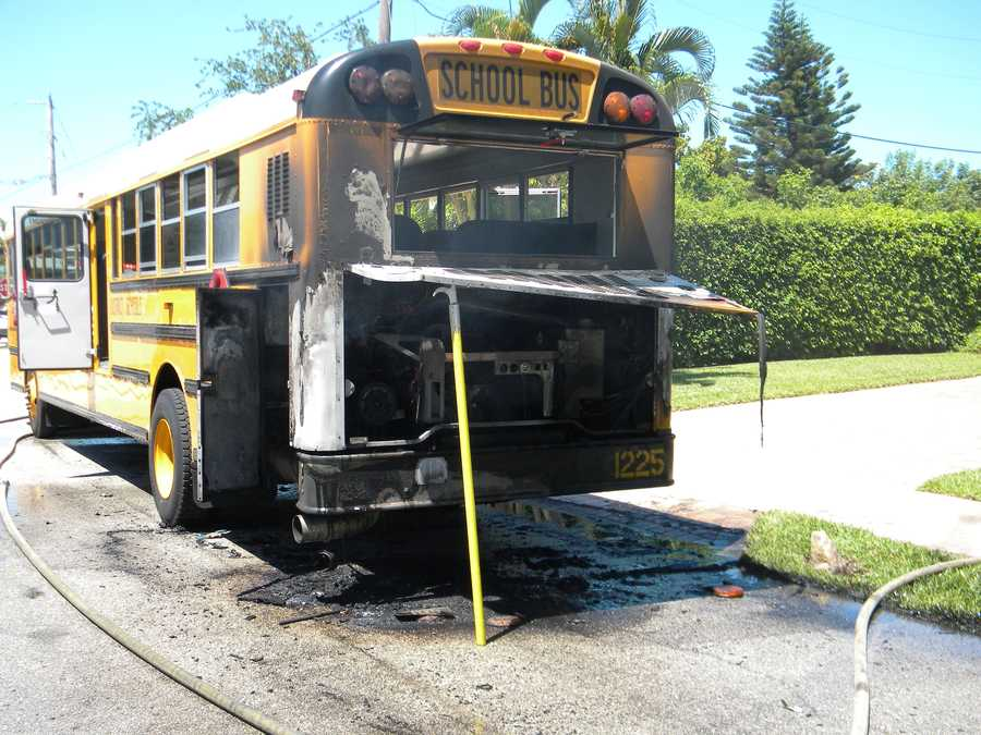 About 30 children from Plumosa Elementary School were on the bus at the time.
