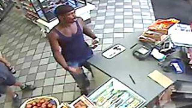 Police say this man used the victim's stolen credit card at a gas station shortly after the robbery.