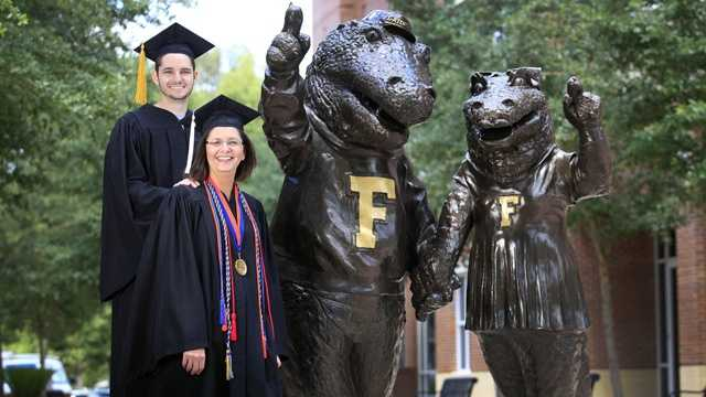 Jean Fredin Lindsay and her son Dan will graduate from the University of Florida together. (Erica Brough/The Gainesville Sun)