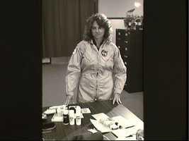 Teacher is Space participant Christa McAuliffe during suite/hygiene briefing