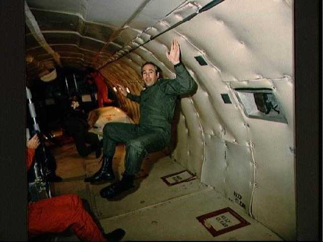 Astronaut Gregory Jarvis during KC-135 zero gravity training