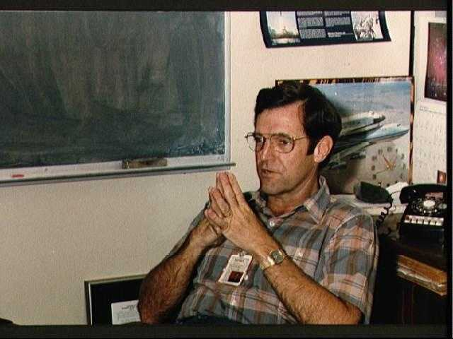 Astronaut Francis R. (Dick) Scobee in his office