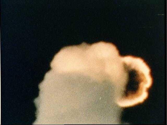 Challenger SRB destruction after launch