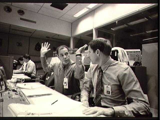 Views of Mission Control during launch of STS 51-L