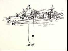 Artists concept of the salvage operations offshore of KSC after STS 51-L