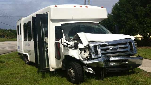 Four children on this Palm Tran Connection van weren't injured in a collision Thursday afternoon.
