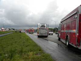 The crash happened in the southbound lanes of I-95, just north of the Congress Avenue exit.
