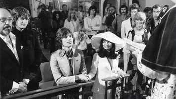 Jagger was twice married and has seven children with four different women. His first marriage was to Bianca De Macias (pictured) in St. Tropez, France, on May 12, 1971. She filed for divorce in 1978 on the grounds of adultery. In late 1977, while still married, Jagger began courting model Jerry Hall. They married in 1990, but the marriage was annulled in 1999. Jagger has also been romantically linked to Marianne Faithful and Carly Simon, among many others.