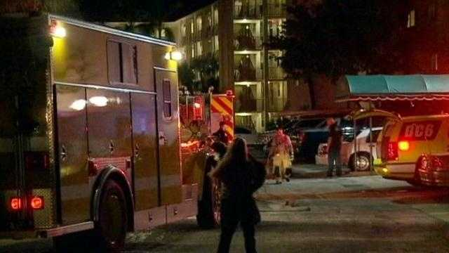 Firefighters battle a blaze at this North Palm Beach apartment.