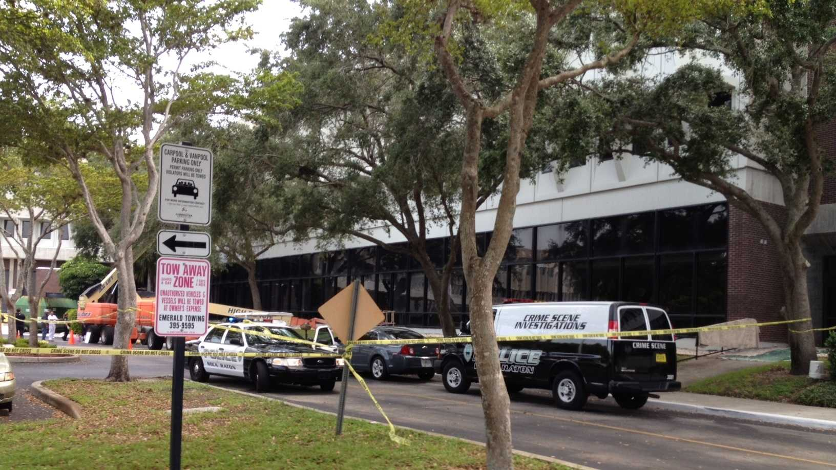 Two painters fell about 30 feet from the elevated platform of a bucket truck and were taken to Delray Medical Center in critical condition.