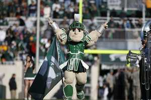 Michigan State's Sparty is one of the most recognizable college mascots in the country. The muscular Spartan won the best mascot national championship three times and was featured on the cover of the Wii version of NCAA Football '09. (Photo: Michigan State Athletic Communications)