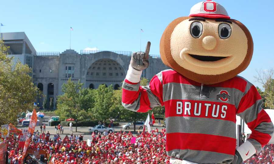 Ohio State's Brutus Buckeye was selected as the school's mascot in 1965 and has appeared in several national commercials. (Photo: Ohio State Athletics)
