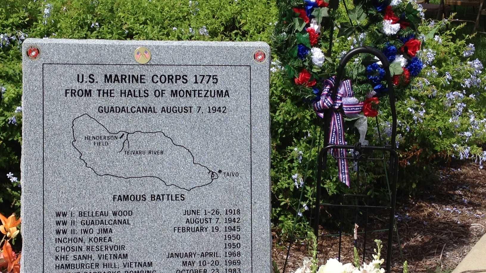 Marine memorial at Veterans Memorial Park