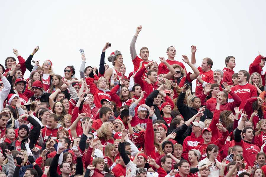"Officially started in 1998, players and fans at Wisconsin's Camp Randall Stadium bounce when House of Pain's ""Jump Around"" is played between the third and fouth quarter of every home game. (Photo: University of Wisconsin Athletics)"