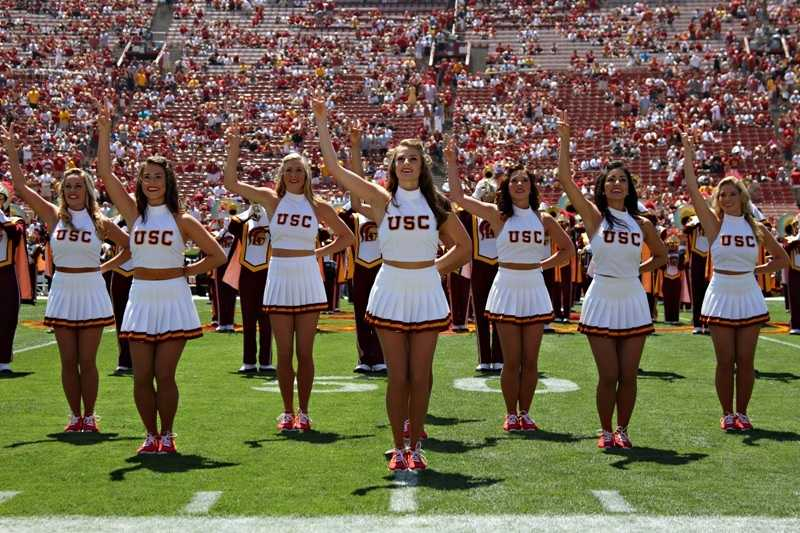 The Song Girls of the University of Southern California may be the most well-known group of cheerleaders in the nation. Perhaps that's because their classic look hasn't changed from the varsity sweaters, pleated skirts and big pompoms of days gone by. (Photo: USC)