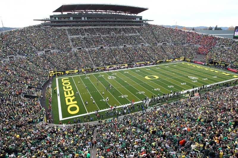 Did you know Autzen Stadium was named for a Lumberman? Fitting, because the Oregon Ducks try to bring the wood every week. It's only seats 54,000 fans, but it sounds like they seat 120,000. (Photo: Eric Evans, GoDucks.com)