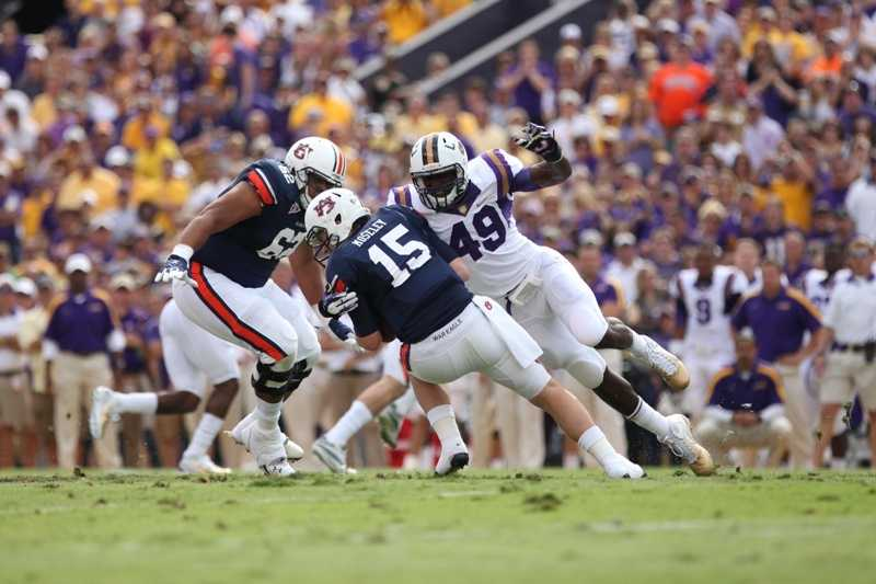 LSU defensive end Barkevious Mingo, who was born in Belle Glade, hopes his name (which is a combination of the first three letters of his mother's name, Barbara, and Kevious) will elicit fear in his opponents on the other side of the line. (Photo: LSU Sports Information)