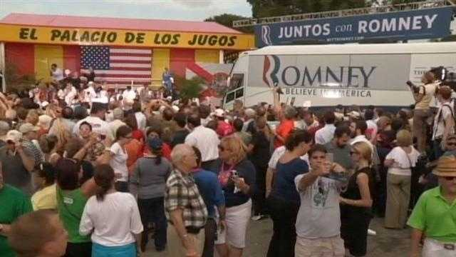 A large crowd gathers to watch Mitt Romney speak at El Palacio de los Jugos in Miami.