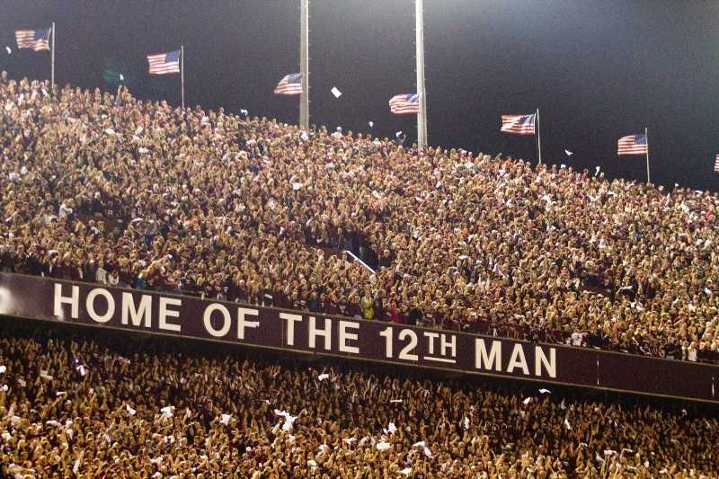 The entire student body at Texas A&M is the 12th Man, and they stand during the entire game to show their support. (Photo: Texas A&M Athletics)