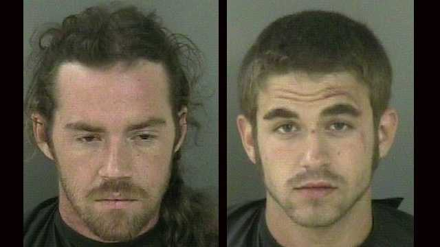 Vehicle burglary suspects Samuel Gray (left) and Zachary Reynolds were arrested in Sebastian.