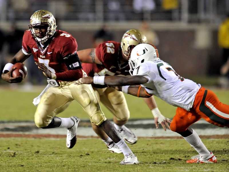The Seminoles will try for their fourth consecutive road win against Miami this season. Florida State is 5-3 against the Hurricanes since they joined the Atlantic Coast Conference in 2004, including last season's 23-19 victory in Tallahassee. Manuel was sacked three times and the Seminoles only managed 63 rushing yards against Miami last season. If the 'Noles can win three in a row against Miami, it would be the longest winning streak against the state rival since FSU won five straight from 1995 to 1999. (Photo: Mike Olivella/FSU Sports Information)
