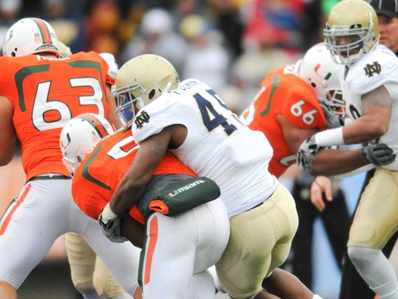 """The """"Catholics vs. Convicts"""" rivalry is renewed at Soldier Field in Chicago. Notre Dame is 16-7-1 all-time against Miami. The teams last met in the 2010 Sun Bowl, which the Fighting Irish won 33-17. Miami lacks experience after losing four-year starting quarterback Jacory Harris to graduation and five early departures to the NFL. Stephen Morris is the heir apparent to take over as starting quarterback, but the junior missed spring practice while recovering from back surgery.(Photo: Notre Dame Athletics Media Relations)"""