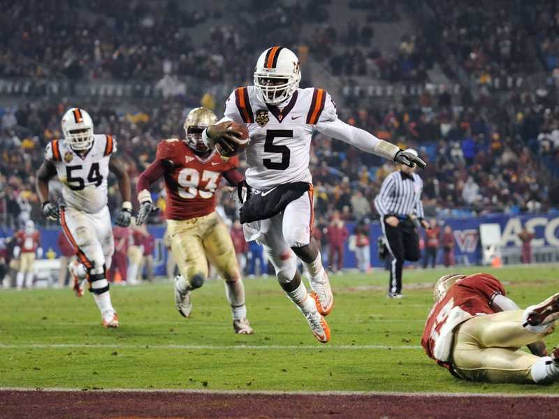 Florida State and Virginia Tech will meet in a rematch of the 2010 ACC Championship game, which the Hokies won 44-33. FSU failed to reach last year's conference title game, while Virginia Tech lost to Clemson. (Photo: Dave Knachel/Virginia Tech)
