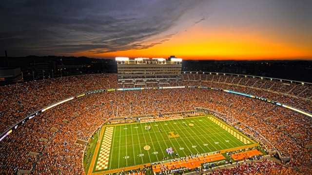 Tennessee's Neyland Stadium is one of the largest stadiums in the country, with a seating capacity of 102,455. It's named for General Robert Neyland, who recorded shutouts in 112 of 216 games when he was the Volunteers head coach. (Photo: Wade Rackley/Tennessee Athletics)