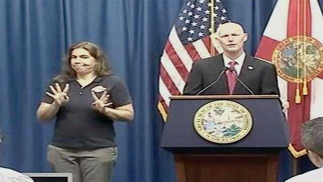 Gov. Rick Scott addresses reporters about the state's preparation as Tropical Storm Isaac looms.