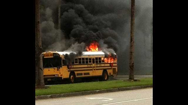 This school bus caught fire on Tuesday but fortunately, no one was on it and no injuries were reported. (Photo: u local mobile)