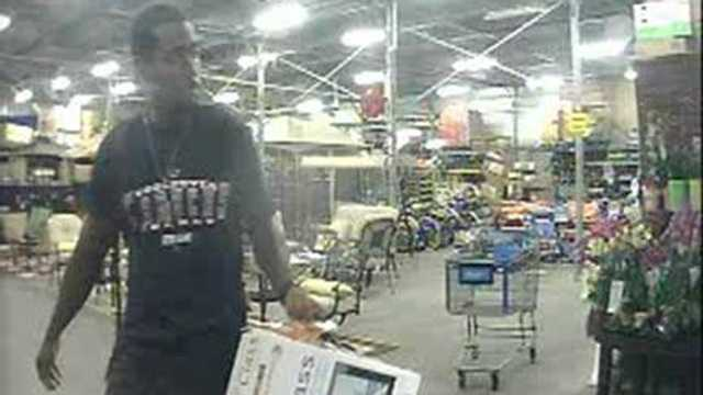 Detectives say this man stole a television and a large amount of cologne from a Walmart in West Palm Beach.