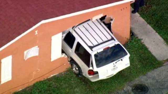 No one was seriously injured when this SUV crashed into a house in Pompano Beach on Monday.