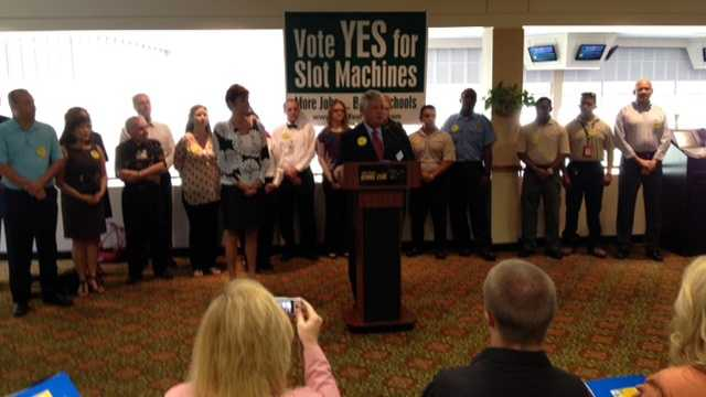A group gathered Tuesday to drum up support for slot machines in Palm Beach County. (Photo: Ted White/WPBF)