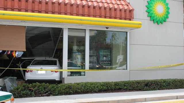 A car crashed into a South Florida gas station, sending one person to the hospital. The crash occurred Wednesday afternoon at a BP station in the 2700 block of State Road 7.
