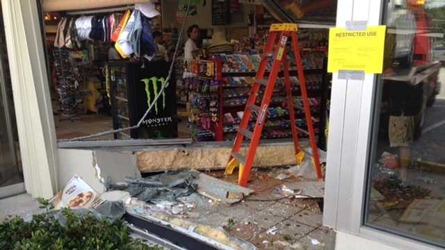 Capt. Albert Borroto said a person inside the store suffered minor injuries and was taken to a hospital in Wellington. Borroto didn't say if the driver was hurt.