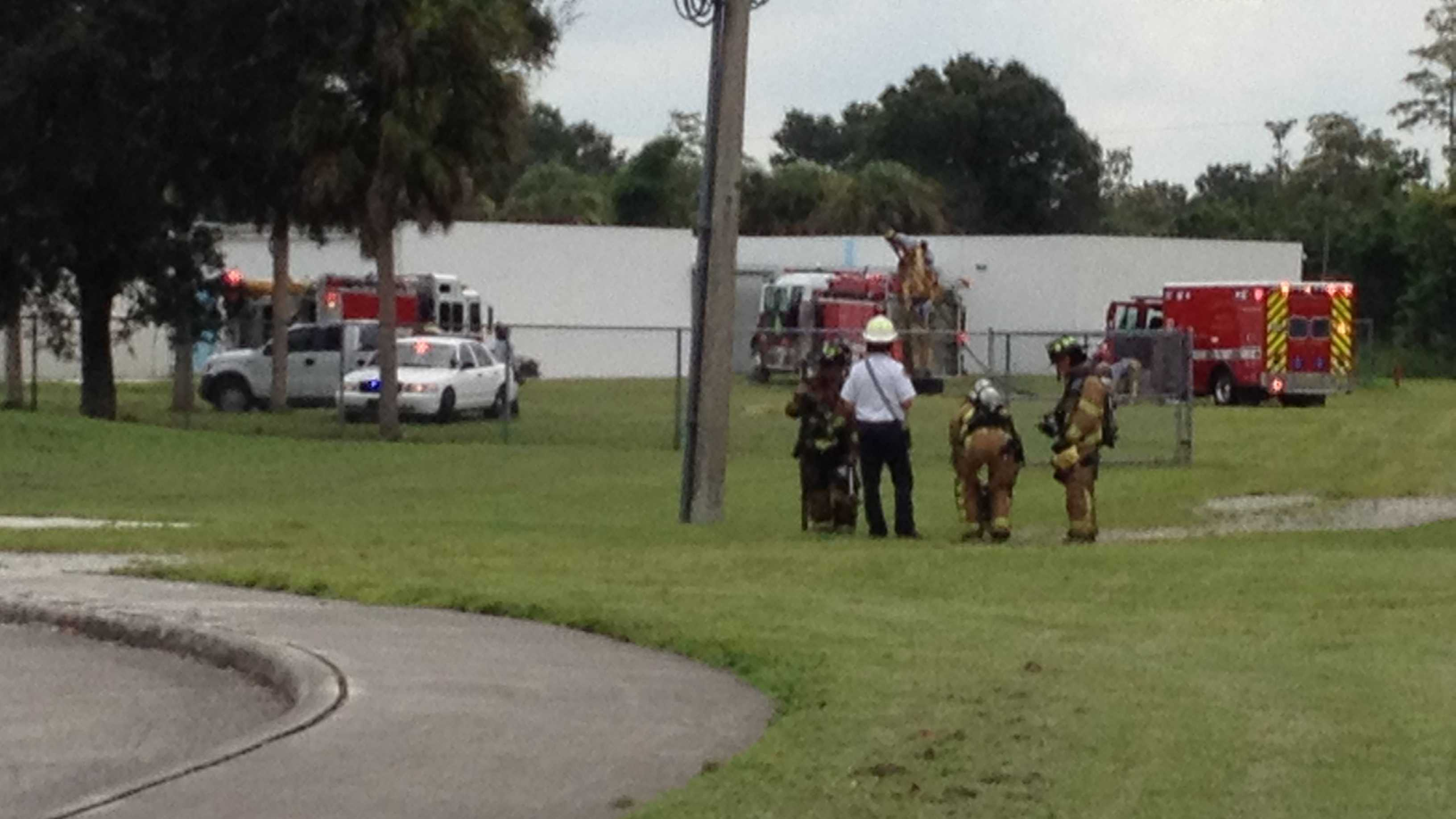 A fire at Wellington Landings Middle School was contained to a bathroom Monday.