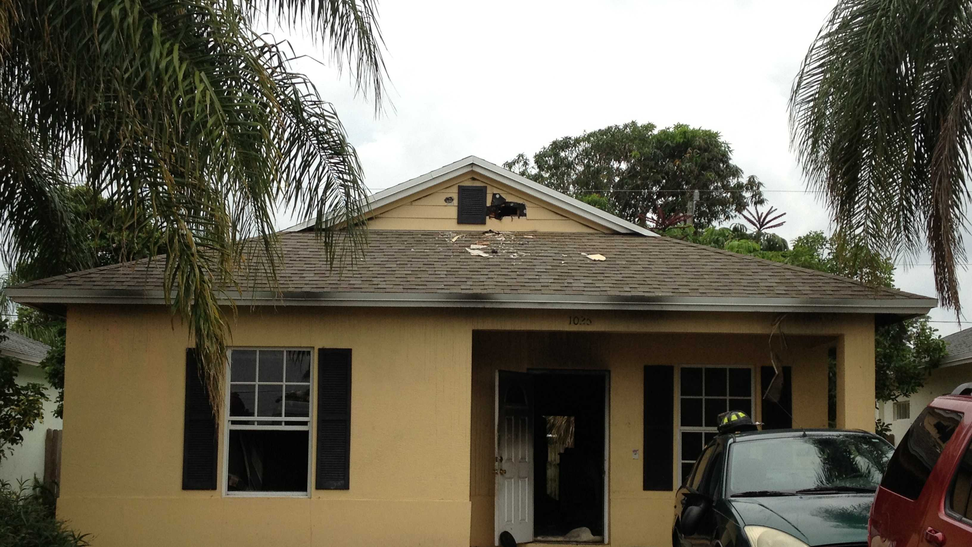An adult and four children were displaced by a fire at their Lantana home.