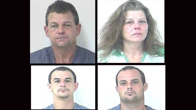 David Selph, Babette Bishop, Bryan Kelley and Richard Cook (clockwise from top left) were arrested in connection with a meth lab in Fort Pierce.
