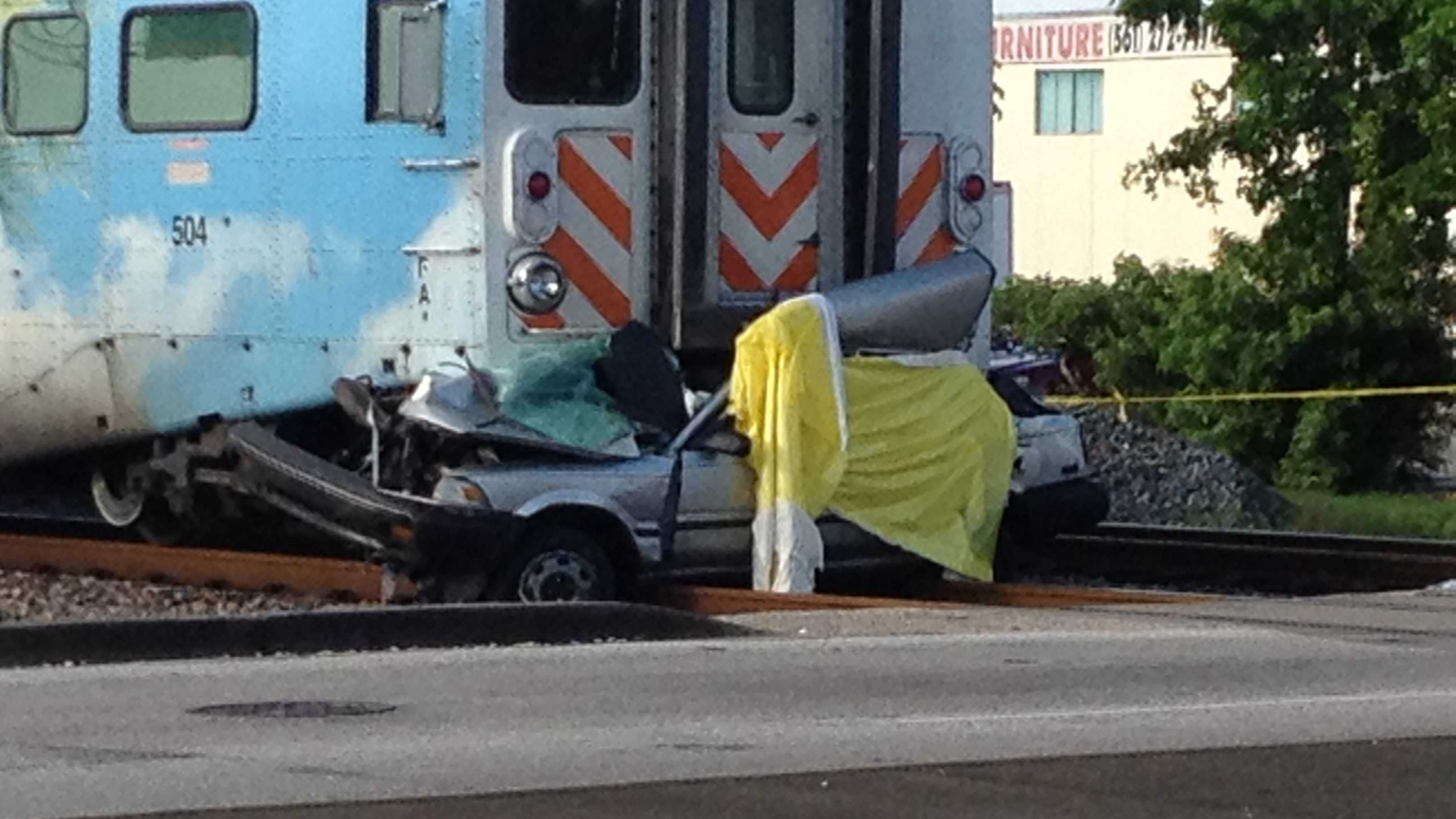 One person was dead after a Tri-Rail train and a vehicle collided in Delray Beach on Wednesday morning. (Photo: Chris McGrath/WPBF)