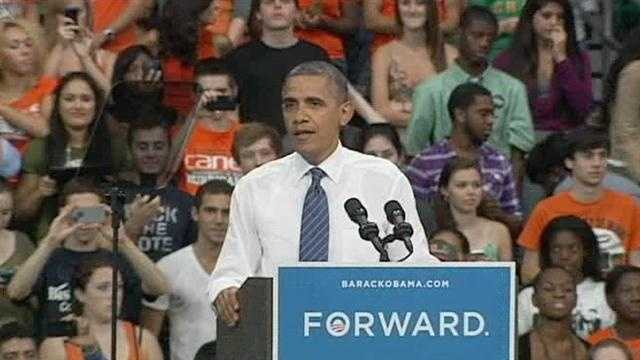 President Barack Obama makes a campaign stop at the University of Miami.