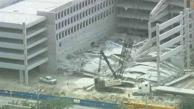 A portion of this parking garage that was under construction at Miami Dade College's west campus collapsed, killing four people.