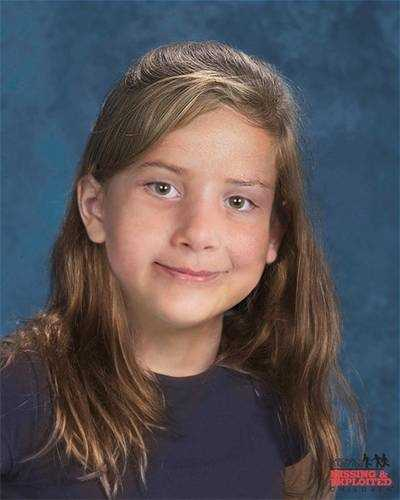 """Arielle Buday, age now 10: Missing from Gainesville. Arielle's photo is shown age-progressed to 7 years. She was last seen on October 28, 2008. It is believed she was abducted by her mother, Jepke Buday. They may have traveled to Belgium. Arielle has a scar under her chin. Jepke has a tattoo of the word """"sunshine"""" on her ankle. Her ears are pierced."""