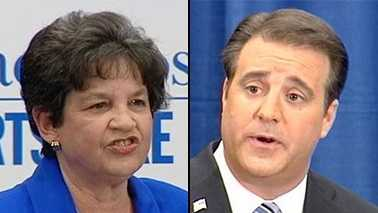 Lois Frankel and Adam Hasner squared off in a debate Wednesday morning near downtown West Palm Beach.