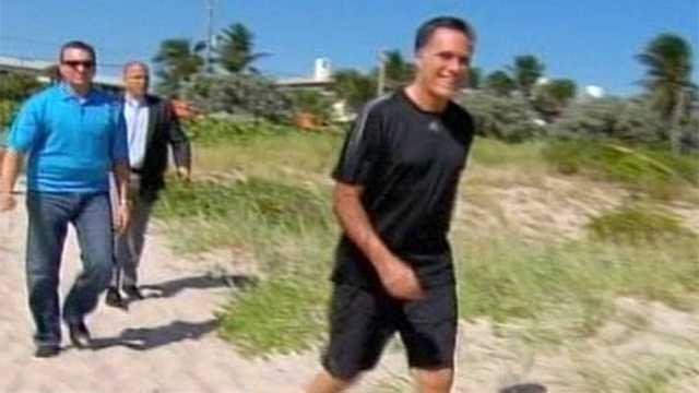 Mitt Romney heads to the beach a day before the final presidential debate at Lynn University.