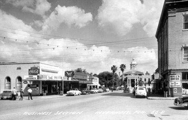 Inverness (Citrus County): The city is named by a Scotch settler for the ancient capital of the Scottish Highlands.Downtown Inverness is shown in a 1950 picture.