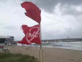 Wind gusts were strong near the Lake Worth Pier on Thursday morning. (Photo: Chris McGrath/WPBF)